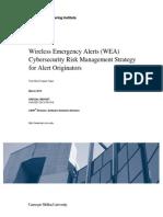 Wireless Emergency Alerts (WEA) Cybersecurity Risk Management Strategy for Alert Originators