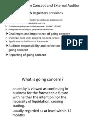 Going Concern-Presentation | Going Concern | Audit