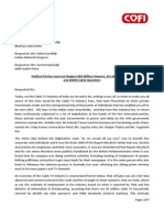 COFI | NCTA Cable TV Industry Memorandum dated 2nd April 2014 to All Political Parties