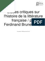 Etudes critiques sur l'histoire de la littérature française. 1