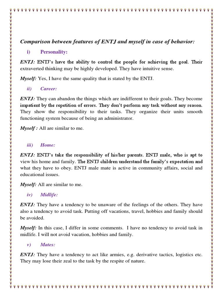 Comparison Between Features of ENTJ and Myself in Case of