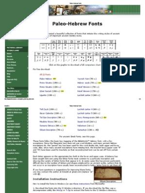 Paleo-Hebrew Fonts pdf | Hebrew Language | Writing