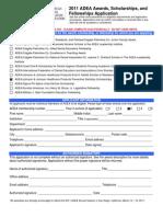 2011 Awards Scholarships and Fellowships Application