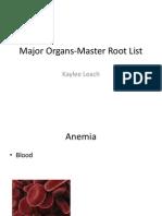 major organs-master root list