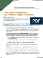 Traducción de relaciones de especialización a tablas relacionales