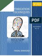Optimization Techniques - Assignment No. 01