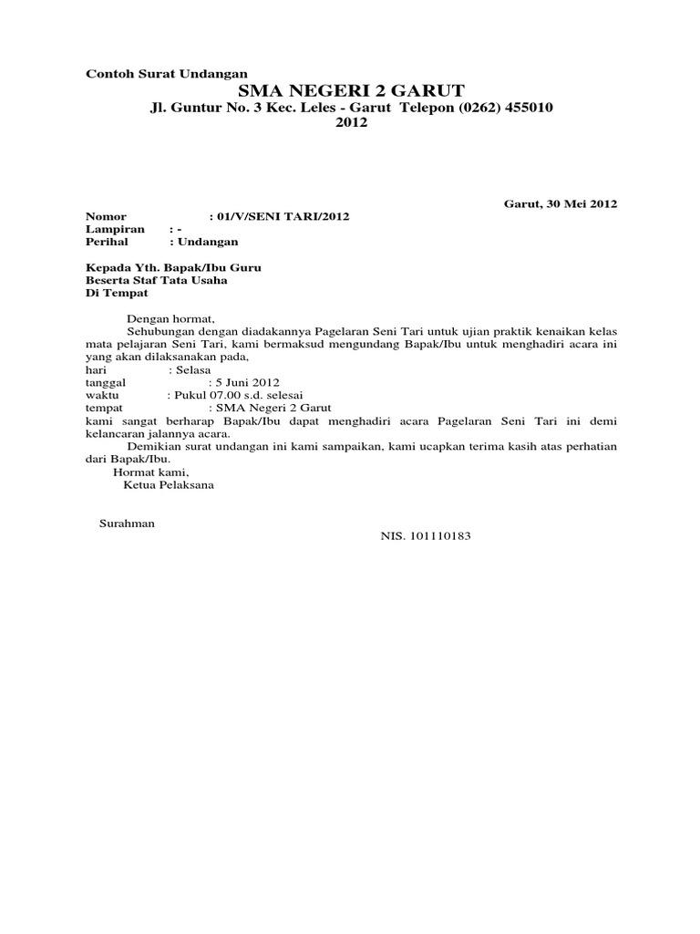 contoh surat undangan resmi pentas seni