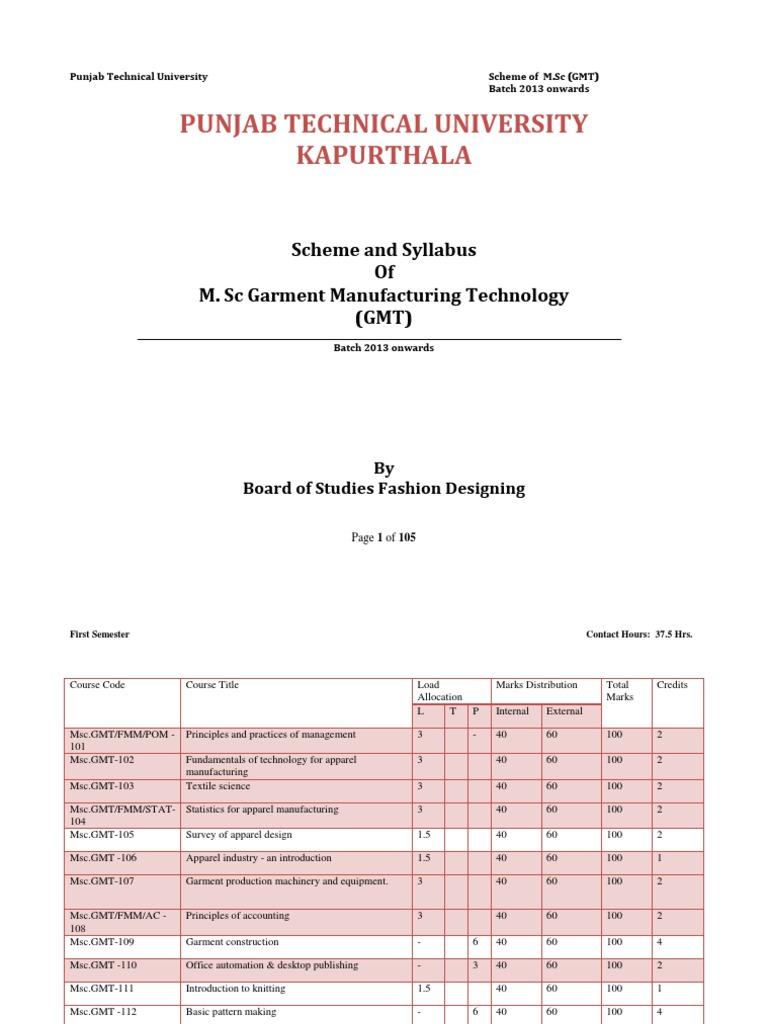 M Sc Garment Manufacturing Technology Gmt Scheme Syllabus 1st To 4th Sem Knitting Adobe Photoshop