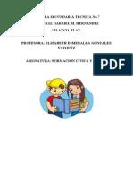 Hoja de Presentacion de Formacion Civica y Etica