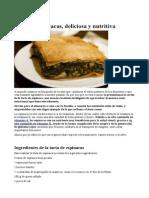 Tarta de Espinacas, Deliciosa y Nutritiva