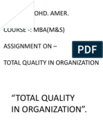 Total Quality in Organization
