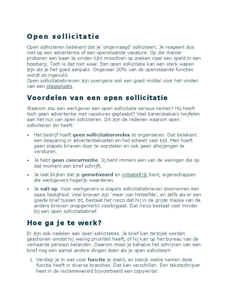 open sollicitatie vacature Open Sollicitatie open sollicitatie vacature