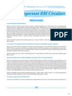 Gist of Important RBI Circulars