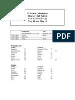9th grade orientation itinerary 2011