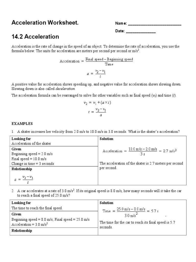 acceleration worksheet | Acceleration | Speed