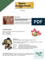 Announcements - April 6, 2013