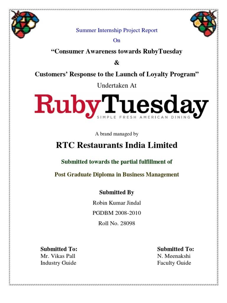 Ruby Tuesday: Summer Internship Project Report   Loyalty Program    Franchising