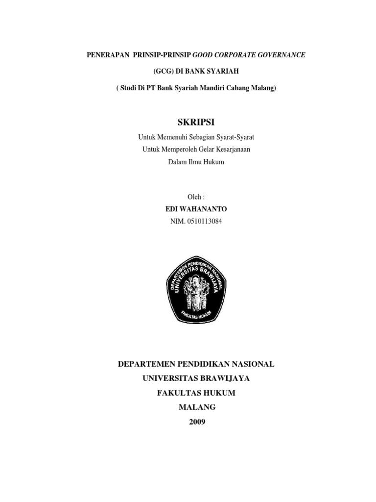Penerapan Prinsip Prinsip Good Corporate Governance 0d 0a Gcg Pada Bank Syariah Studi Pada Pt Bank Syariah Mandiri Cabang Malang