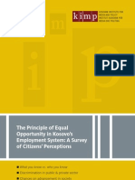 The Principle of Equal Opportunity in Kosovo's Employment System A Survey of Citizens' Perceptions