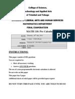 Pre Calculus Finals ( July 2012 )