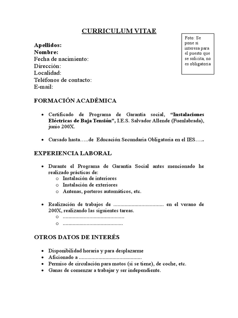 Asombroso Plantilla De Curriculum Vitae Rellenable Foto - Ejemplo De ...