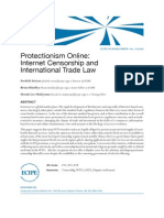 Protectionism Online Internet Censorship and International Trade Law