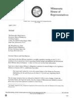 Letter from Rep. Kurt Daudt to Governor Dayton regarding MNsure's budget