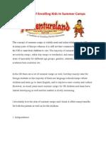 Benefits of Enrolling Kids in Summer Camps