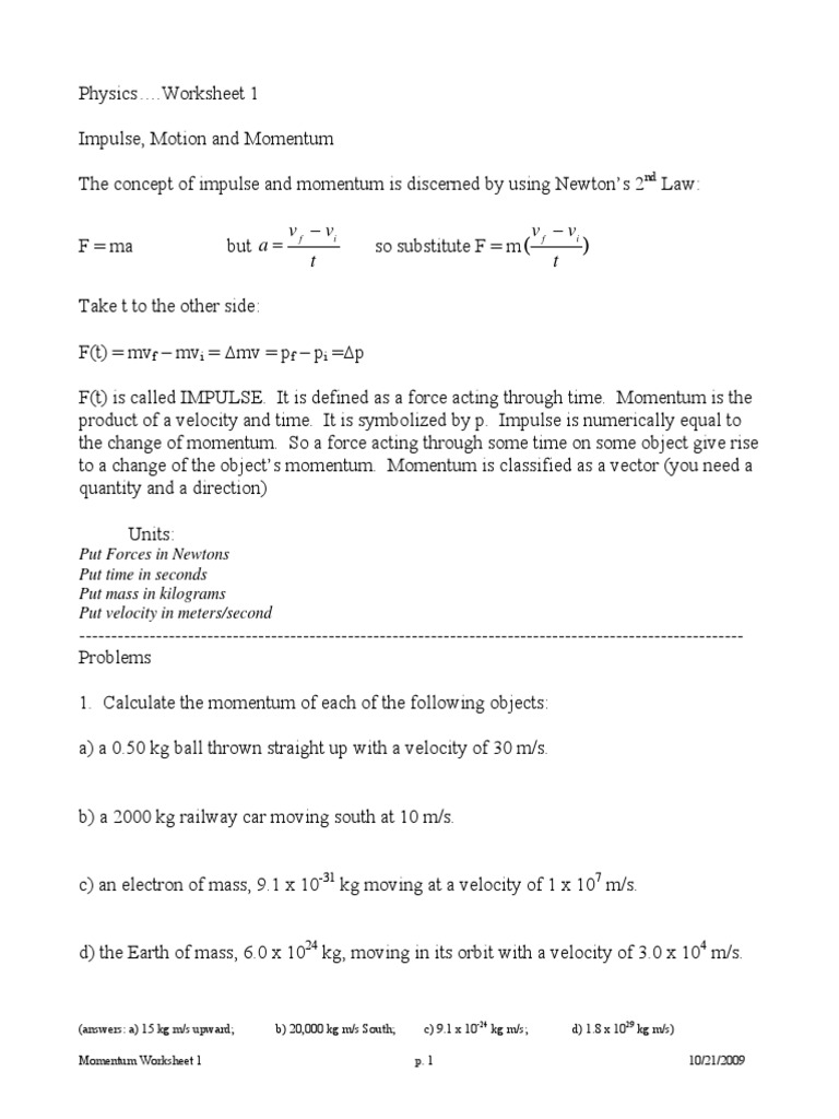Worksheets F Ma Worksheet momentum worksheet packet collision momentum