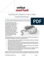 Avoiding the Valuation Trap in India Impact Businesses - April 2014 - Unitus Seed Fund