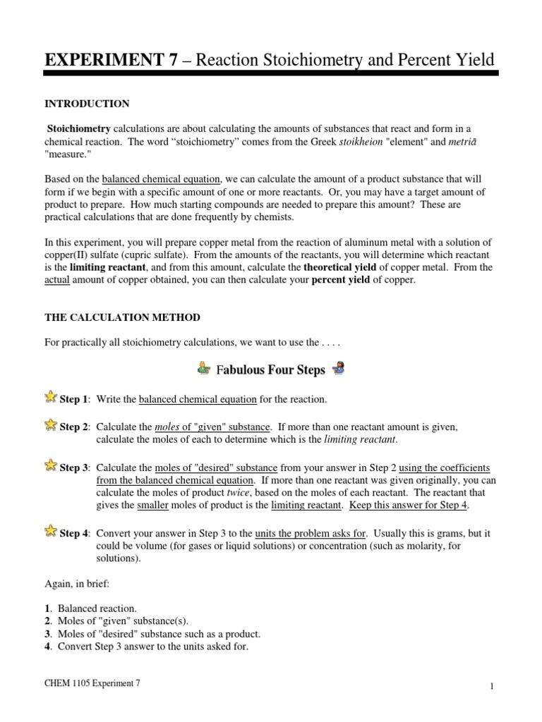 Exp 7 Stoichiometry Stoichiometry Mole Unit
