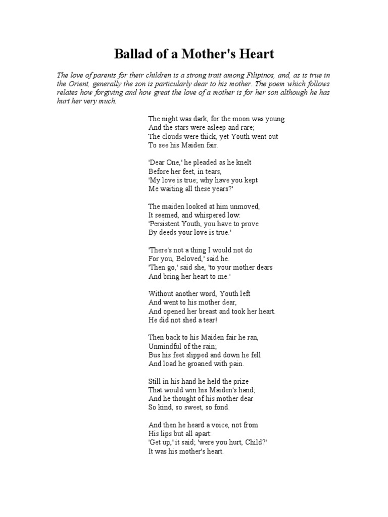 Ballad Of A Mother Rhyme Poetry