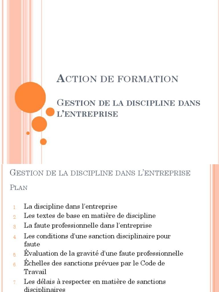 Support Formation Gestion De La Discipline Au Travail Pdf