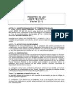 Règlement du Jeu du coffre-fort 2015