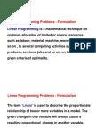 Linear Programming Problems - Formulation