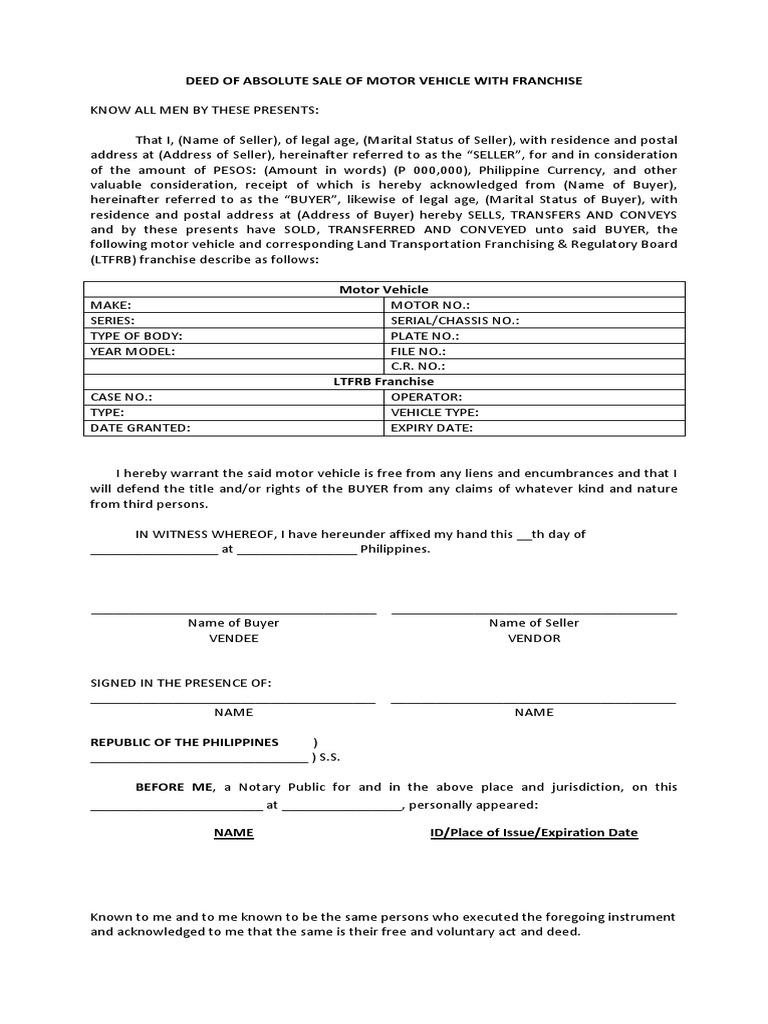 deed of absolute sale of motor vehicle