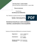 Derkaoui S.M. Revêtement bioactif pour stents métalliques