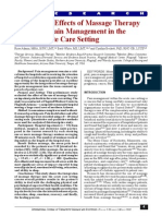 The Effects of Massage Therapy on Pain Management in the Acute Care Setting