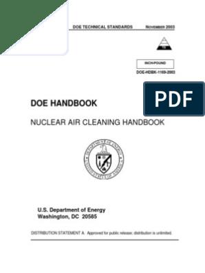 DOE HDBK 1169 2003_Nuclear Air Cleaning Handbook | Nuclear