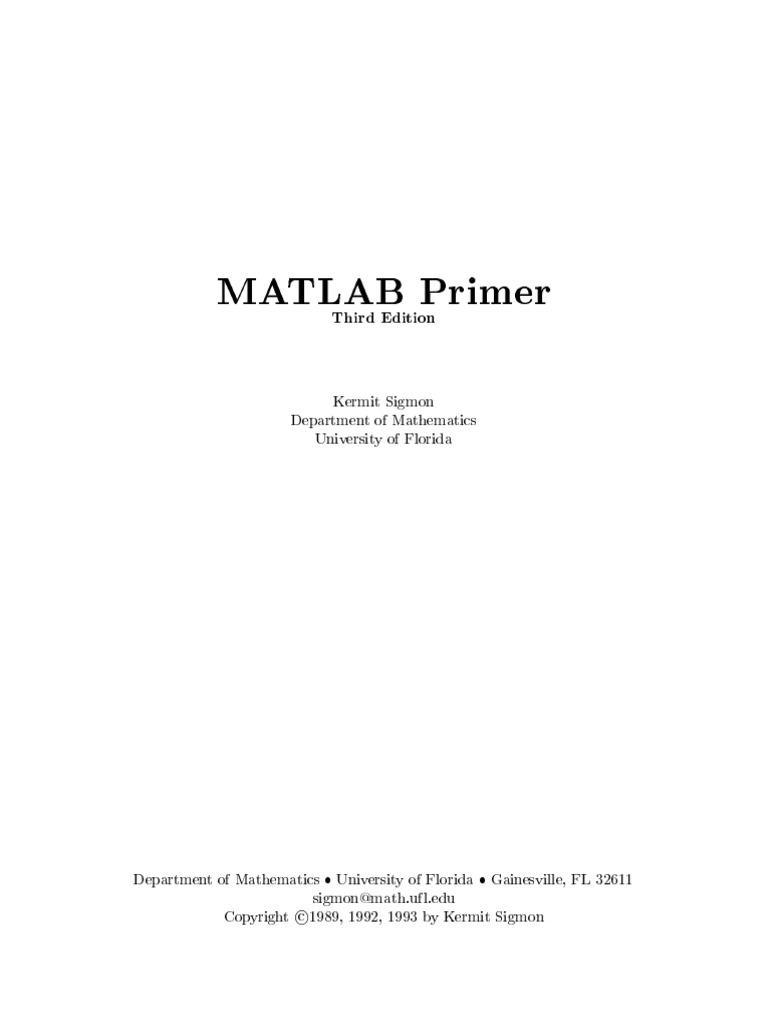 Matlab Primer 3e   Matrix (Mathematics)   Cartesian