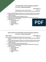 Brand Management Question Paper