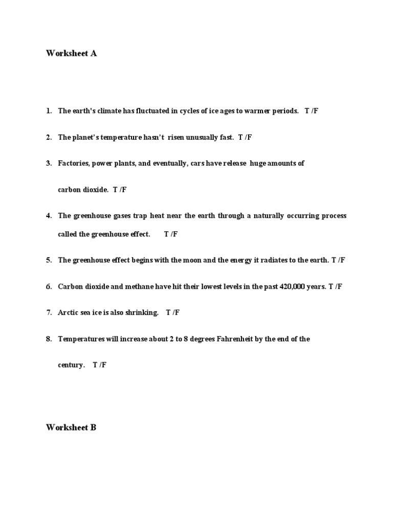 worksheet Greenhouse Effect Worksheet worksheet a b c x i greenhouse effect earth