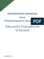 Antecedentes Generales Curso Edu. Financiera en La Escuela