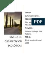 NIVELES DE ORGANIZACIÓN ECOLÓGICA