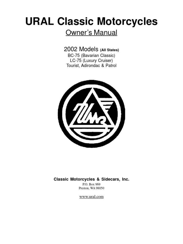 Ural Classic Motorcycles 02 Owners Manual Www
