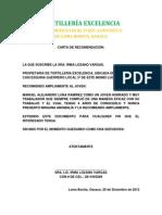Carta de Recomendacion Tortilleria Exelencia