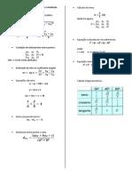 Formulário Geometria Analítica para a Avaliação