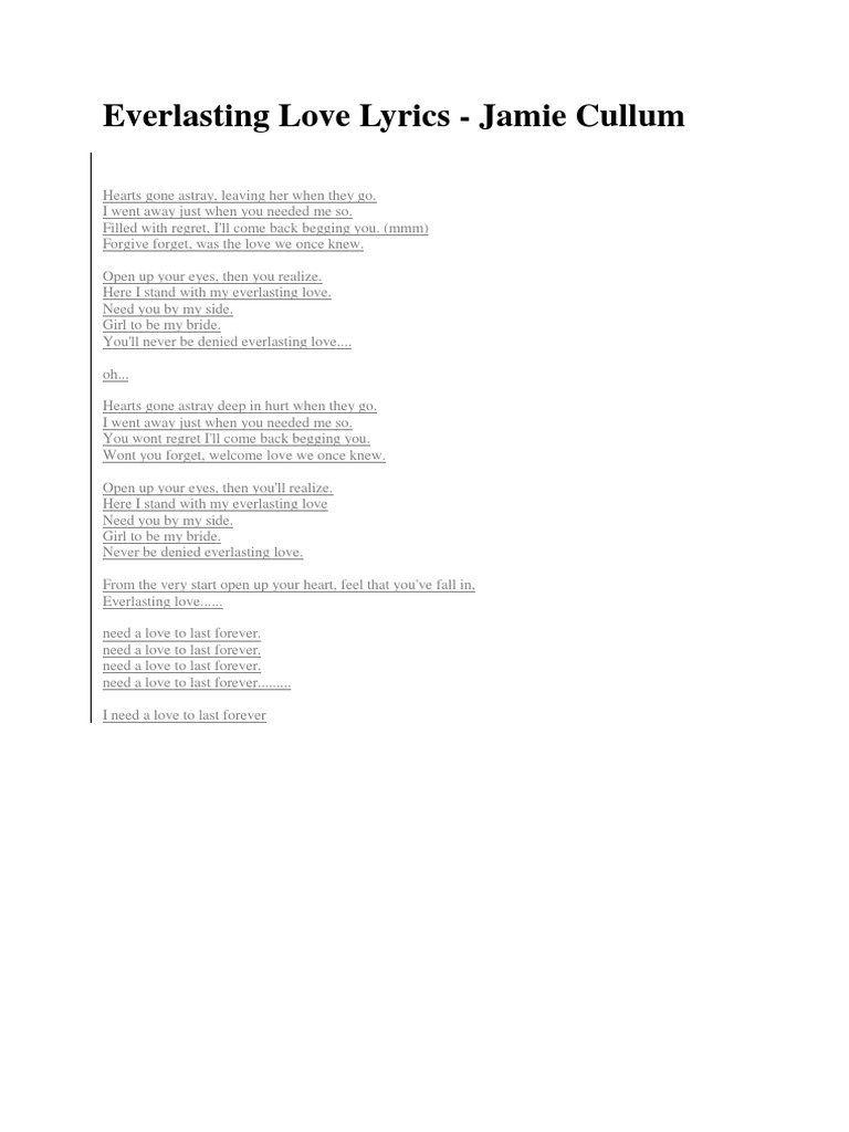 Everlasting Love Lyrics