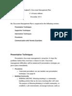 classroom managment plan for teaching portfolio