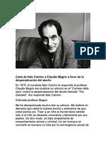 Carta de Italo Calvino a Claudio Magris